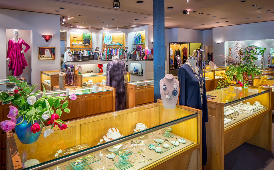 Welcome to our store in Biltmore Village, where we have an extensive selection of artist-made jewelry as well as clothing.