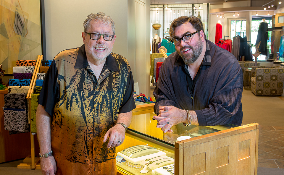 Bellagio Art to Wear founders John Cram & Matt Chambers seek out and support remarkable clothing artisans. Their decades of experience in curation are evident throughout the store.