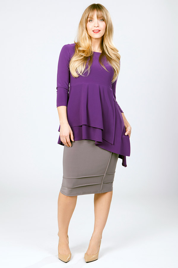 sympli designs purple top and gray skirt